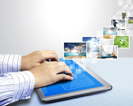touchpad: hands are pointing on touch screen tablet,touch-pad