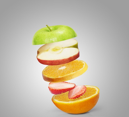 l nutrient: mixed fruits on the gray background Stock Photo