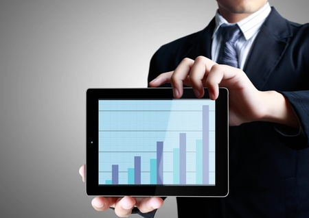 business men touch tablet concept Stock Photo