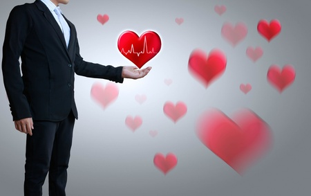 congenial: heart in a hand, business man