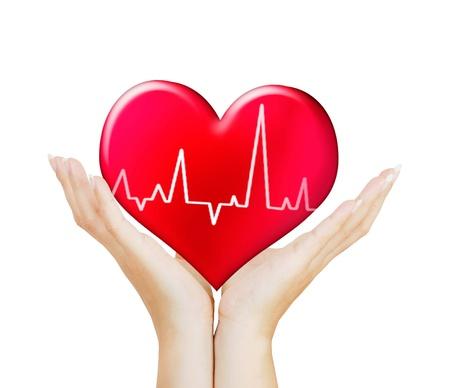 coeur sant�: Coeur rouge sur la main d'une femme
