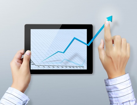 hands are pointing on touch screen ,touch- tablet Stock Photo - 13377133