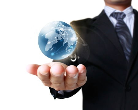 globe in hand: holding a glowing earth globe in his hands