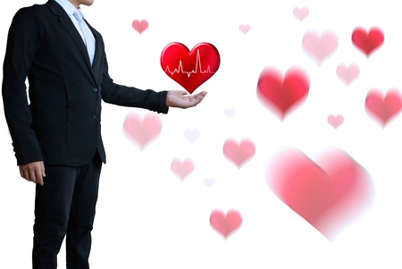 congenial: business man with a heart Stock Photo