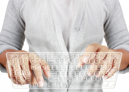 computer user: typing in on a virtual keyboard on a white background