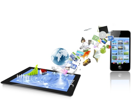 흰색 배경에 고립 된 태블릿 컴퓨터의 ands 휴대 전화 스톡 콘텐츠