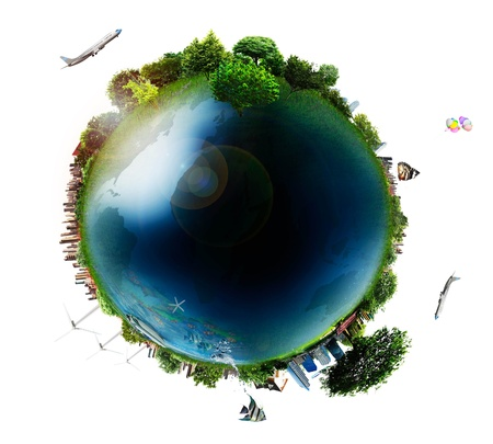 country life: concept miniature globe showing the various modes of transport and life styles in the world  isolated on white background