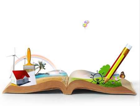 open book of fantasy stories   isolated on white background Stock Photo - 13544498