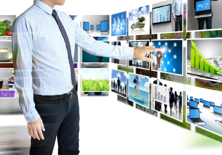 businessmen and Reaching images streaming  isolated on white background photo