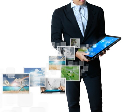 computer message: touch tablet concept images streaming from the deep isolated on white background