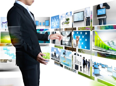 user friendly: businessmen and Reaching images streaming  isolated on white background Stock Photo