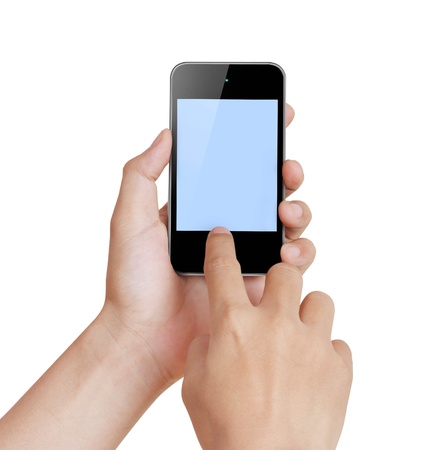 Touch screen mobile phone in a hand Stock Photo - 13544426