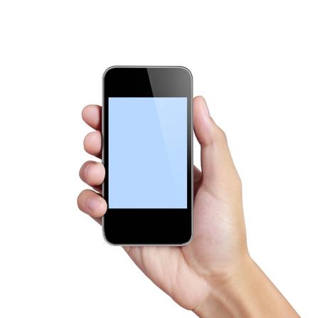 celulas humanas: Pantalla t�ctil del tel�fono m�vil, de la mano