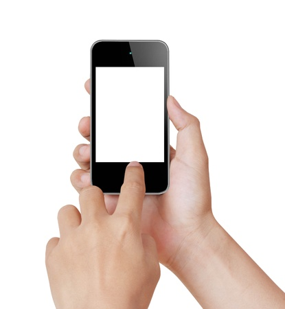 cellular phone call: Touch screen mobile phone, in hand Stock Photo
