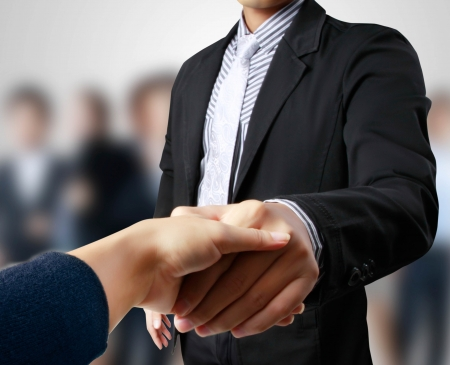shake hands: business people shaking hands Stock Photo