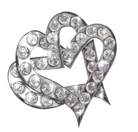brilliants: Two hearts diamonds isolated on white background Stock Photo