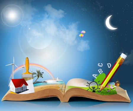 articles: magical world of reading  magic book Stock Photo