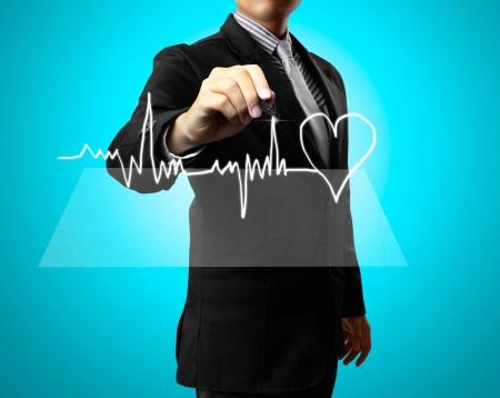 puls: Człowiek rąk Biznes zdrowia rysunek, serce