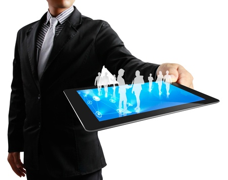 touch pad: touch screen ,touch- tablet in hands Stock Photo