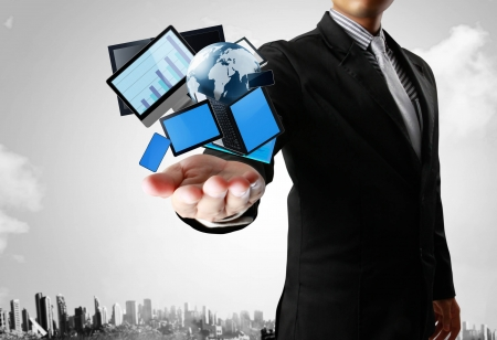 computer program: Ideas, Technology in the hands with businessman