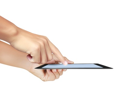hands are pointing on touch screen ,touch- tablet isolated on white background photo