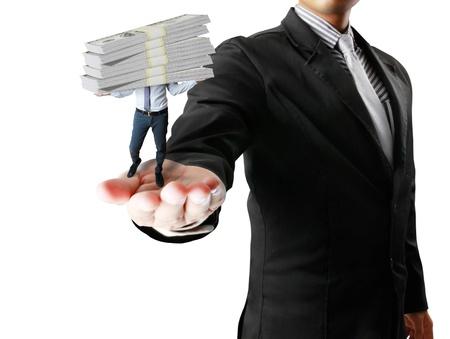 business millionaire over white dollars photo