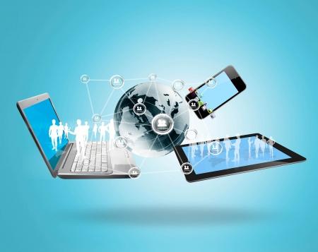 La technologie Magic avec une structure de réseau social Banque d'images