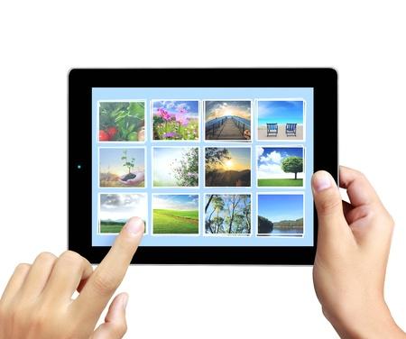 concept images: toccare le immagini concept tablet in streaming in mano Archivio Fotografico