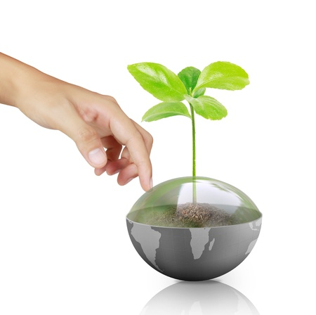 hand pointing a earth globe Stock Photo - 14591590