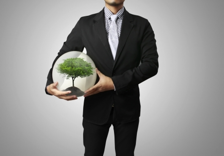 Businessman and green plant in a hand photo