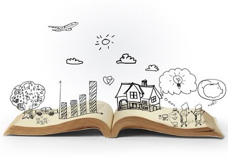 幻想的な物語の魔法の開いた本