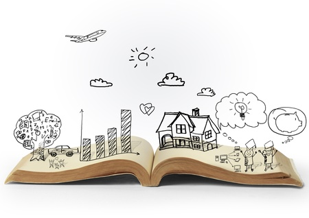 leerboek: magie open boek van de fantasie verhalen Stockfoto