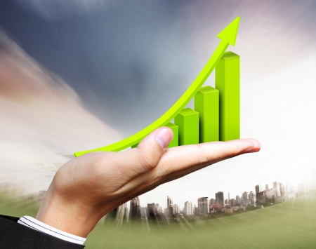 stock market chart: business graph in hand businessmen Stock Photo