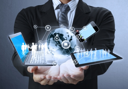 technik: Technologie in den Händen von Unternehmern Lizenzfreie Bilder