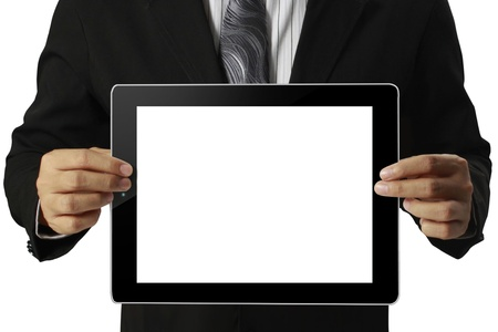 tablet in hand  Business man Stock Photo