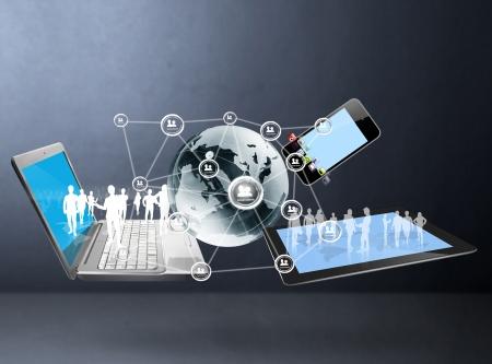 Tecnología Magic con estructura de red social Foto de archivo
