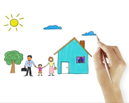 real estate people: hand drawing house in a whiteboard