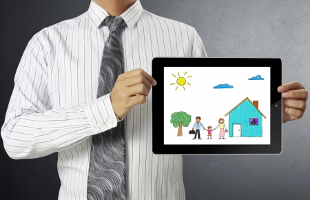 touch-tablet in hand and show tablet Stock Photo - 14989078