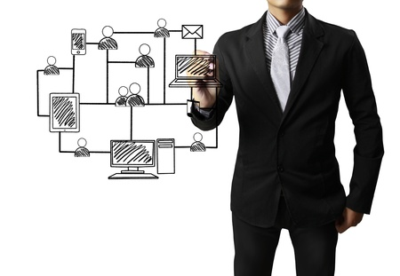 contact information: Business man drawing social network structure  Stock Photo