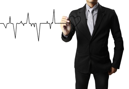 ekg: Medicine, Hand drawing heart Stock Photo