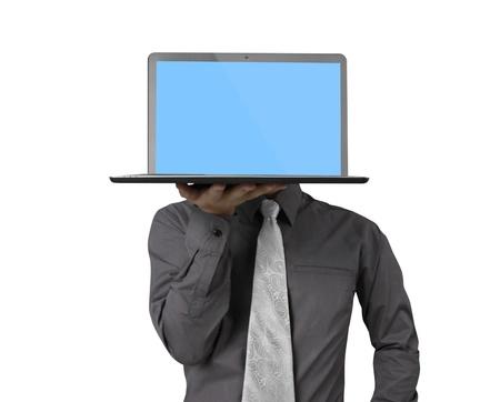 connexion: business man holding his laptop