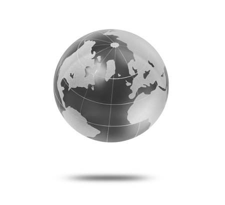 silver state: Earth Globe on white background