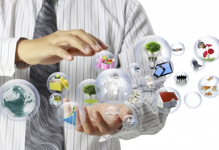 ecosystems: holding a globe in his hands  Stock Photo