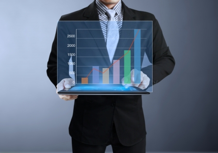 Businessmen graph on tablet and show tablet  Stock Photo