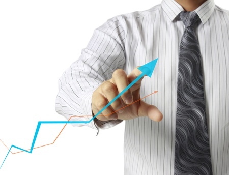 Businessman with show a graph  photo