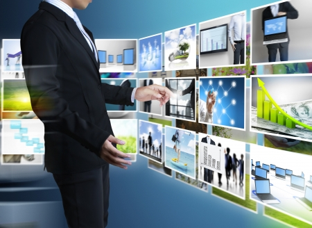 new media: businessmen and Reaching images streaming