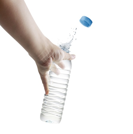qua: hand holding a bottle of fresh water