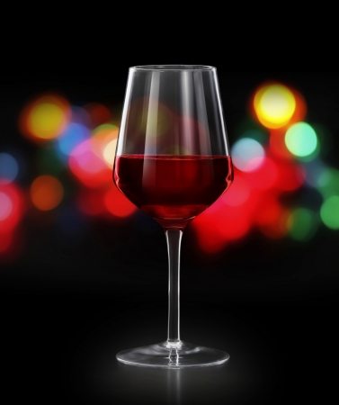 winetasting: Red wine glass  on black background