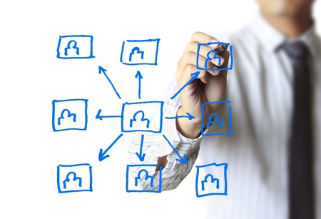 social web: Business man drawing social network structure  Stock Photo