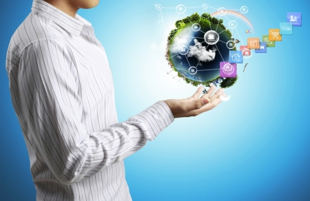 holding a glowing earth globe in his hands Stock Photo - 17125510